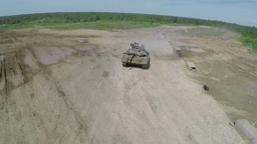 Tank on the finish during maneuvers, aerial shot