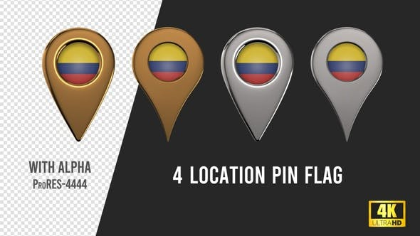 Thumbnail for Colombia Flag Location Pins Silver And Gold