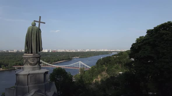 Thumbnail for The Architecture of Kyiv. Ukraine: Monument To Volodymyr the Great. Aerial View, Slow Motion