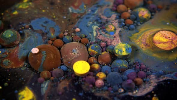 Thumbnail for Abstract Colorful Acrylic And Food Paint Bubbles On Water  27