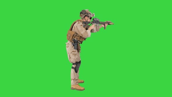 Soldier Aiming Shooting Automatic Rifle Green Screen Chroma Key