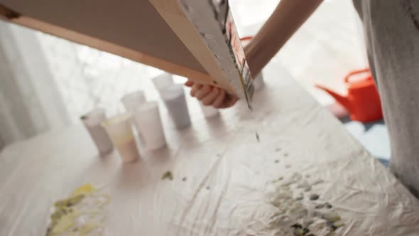 Thumbnail for Creative Woman Making Fluid Painting in Art Studio