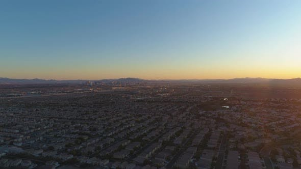 Las Vegas City at Sunrise. Nevada, USA, Aerial View