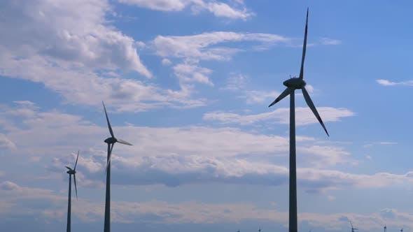 Thumbnail for Wind Turbines Farm Against the Blue Sky. Austria.