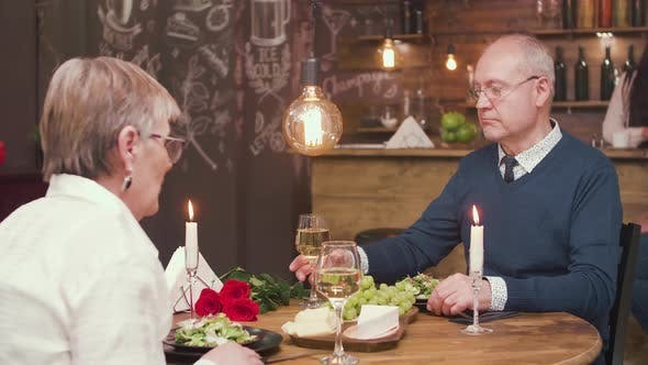 Husband and Wife on a Date Celebrating Anniversary