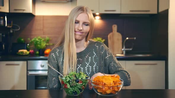 Thumbnail for Young Lady Preferring Salad To Crisp