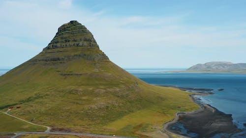 Drone  Video of Kirkjufell Mountain Landscape on West Iceland on the Snaefellsnes Peninsula