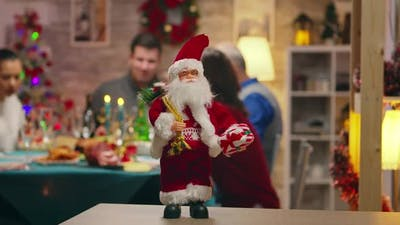 Santa Claus in Focus on the Table