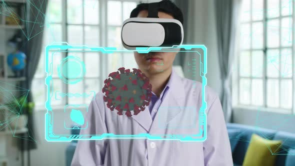 Doctor Using Using Vr Glasses Virtual Reality Working With Animated 3D Human Body Parts