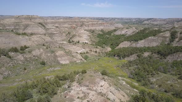 Thumbnail for Aerial Drone of North Dakota Badlands Landscape in Summer