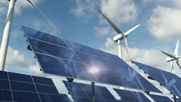 Thumbnail for Solar Panel Cells and Rotating Wind Turbines on the Green Energy Farm
