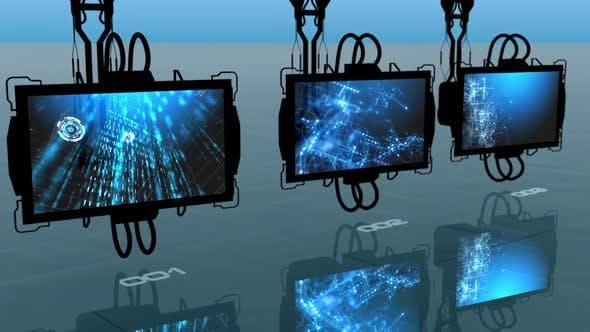 Digital monitors turning