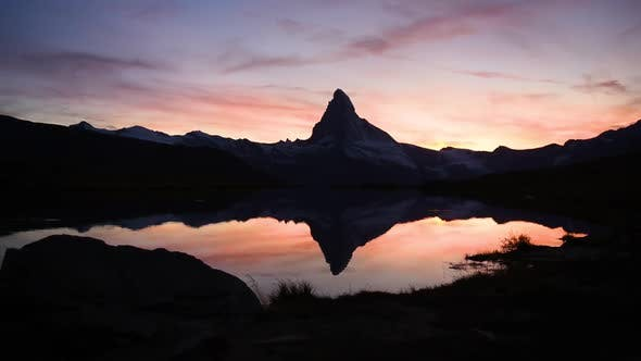 Thumbnail for Incredible Colorful Sunset on Matterhorn Cervino Peak