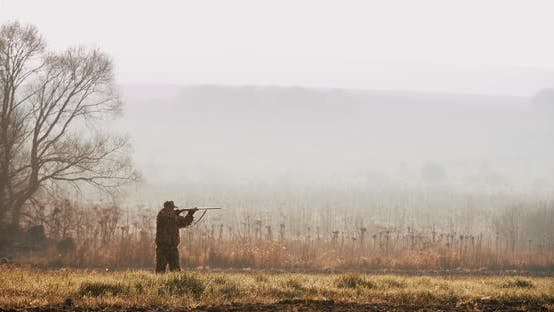 Thumbnail for Hunter in hunting equipment look at the target and aim with shot gun in the field foggy morning