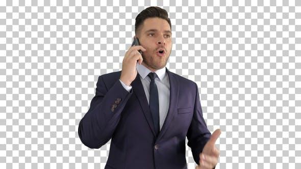 Serious Worried Businessman Talking on Cellphone, Alpha Channel