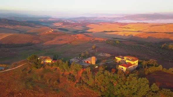 Thumbnail for Aerial View of Tuscany Cultivated Hills at Sunrise Val D'orcia