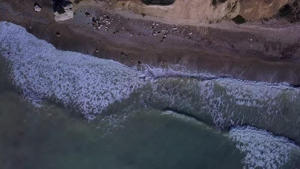 Thumbnail for Aerial Top View Waves Break on Beach