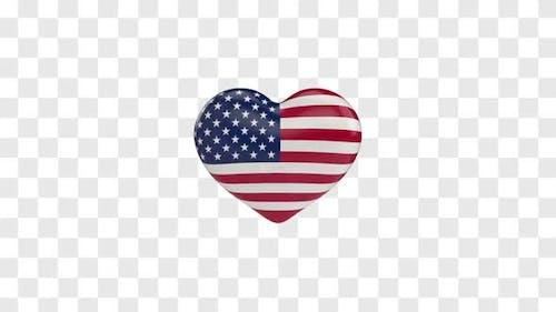 American Flag / USA Flag on a Rotating 3D Heart