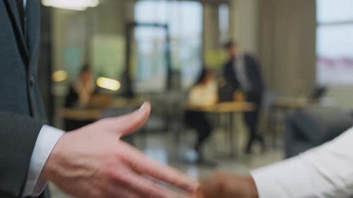 Hiring Businessman Shaking Hands with a African Man Colleague a Handshake in the Office  Slow Motion