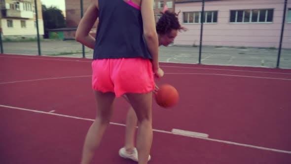 Girlfriends Play Basketball