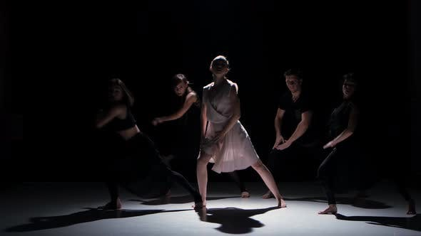 Thumbnail for Start of Contemporary Dance Performance of Five Dancers on Black, Shadow
