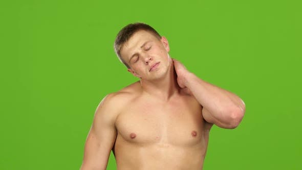 Cover Image for Man Suffers From Pain in Joints and Neck, Green Screen