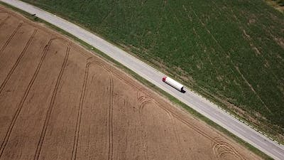 Drone Point of View of White Truck