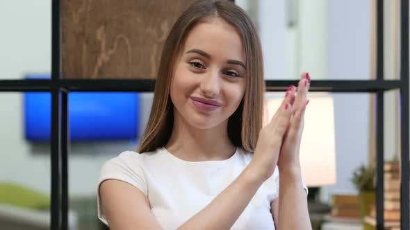 Thumbnail for Clapping Young Girl at Work, Portrait of Applauding Girl