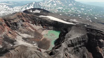 Flying Over the Volcano. Red Krator Volcano.