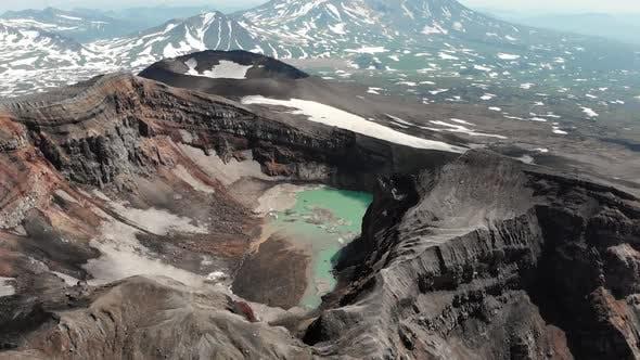 Thumbnail for Flying Over the Volcano. Red Krator Volcano.