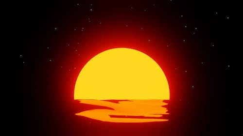 Pretty minimalistic sunset with stars looped