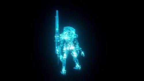 Futuristische Roboter-Maschine Gewehr Turret Wireframe-Schema 3d Rendern mit blauen Rasterlinien Hd