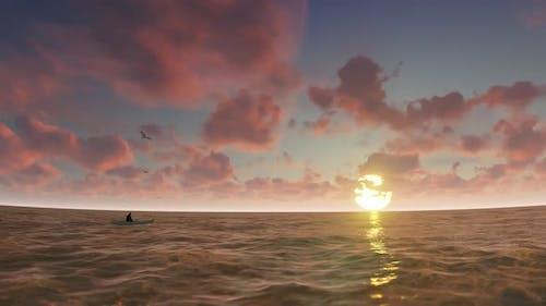 Sunset Ocean Background 4K