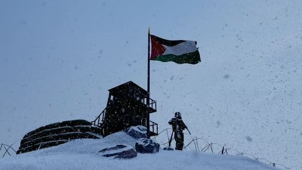 Palestinian Soldier On The Border In Snowy Weather