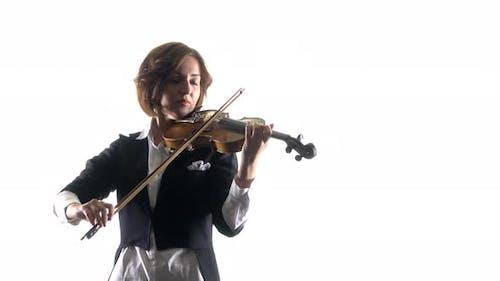 Violinist Plays a Lyrical Work. White Background