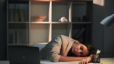 Night Study Working Fatigue Sleeping Woman