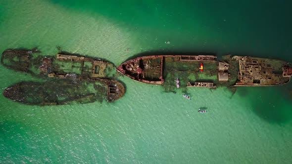 Aerial view of Moreton island shipwrecks in Australia.