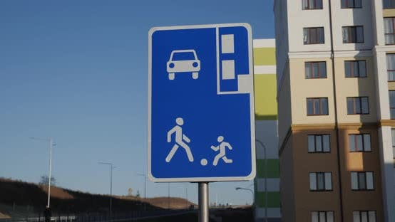 In The New Residential District Put A Road Sign Residential Area