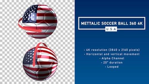 Metallic Soccer Ball 360º 4K - USA