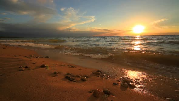 Thumbnail for Beautiful Sunset on a Tropical Sandy Beach