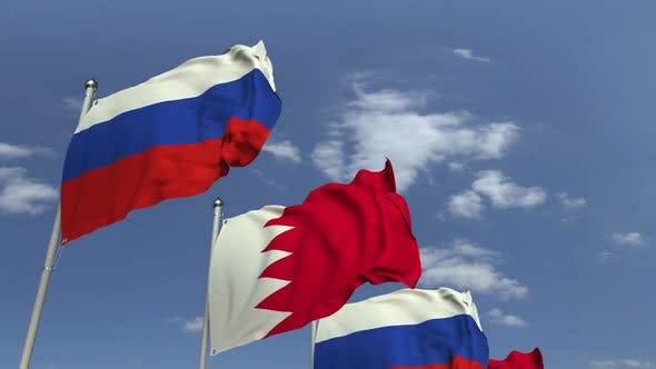 Thumbnail for Row of Waving Flags of Bahrain and Russia