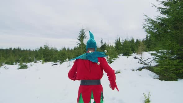 Thumbnail for Elf running in the snow