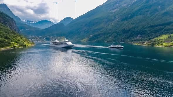 Thumbnail for Cruise Liners On Geiranger Fjord in Norway