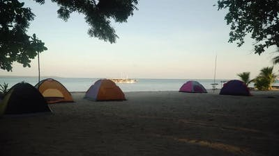 Tents for Camping on a Tropical Beach