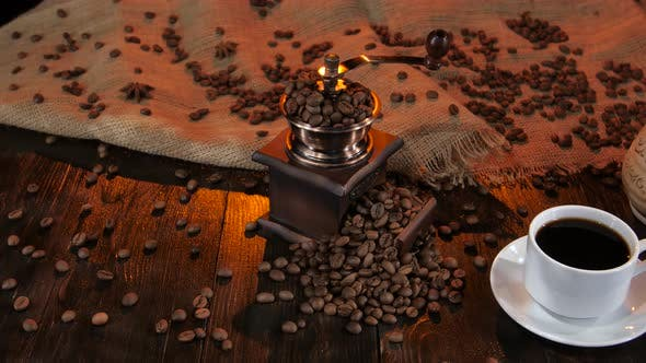 Ceramic Coffee Maker on a Table with Cup of Coffee