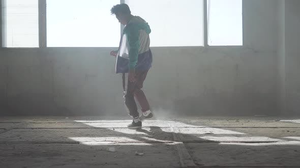Thumbnail for Skillful Young Man Dancing in an Abandoned Building. Hip Hop Culture. Rehearsal. Contemporary