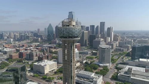 Aerial view of Dallas with the Reunion Tower