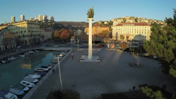 Aerial view of the Monument of Liberation in Rijeka