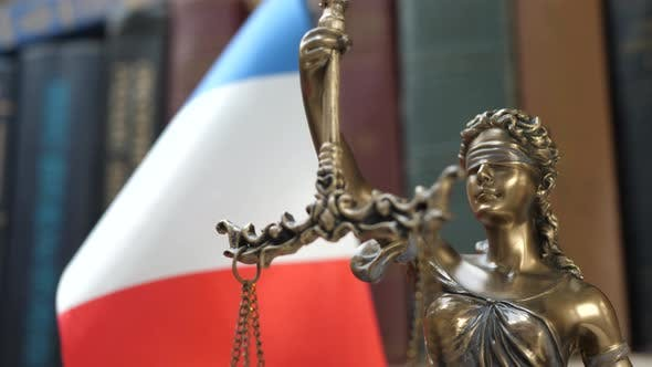 Thumbnail for Statue of Lady Justice with Bookshelf with Books and France Flag Background