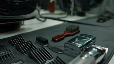 The Hairdresser's Tools are Laid Flat on the Table